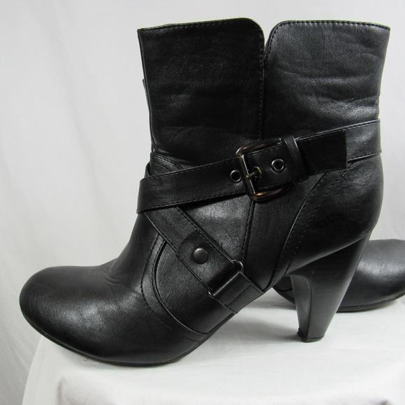 Lane Bryant Black Moto Heel Ankle Boots